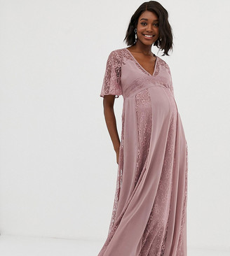 Asos DESIGN Maternity maxi dress with flutter sleeve and all over lace insert-Pink
