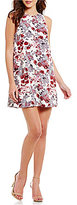 Kensie Antique Floral Crew Neck Sleeveless Shift Dress