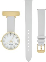 Bermuda Watch Company Annie Apple Empress Interchangeable Gold, Grey Leather Wrist To Nurse Watch Ladies