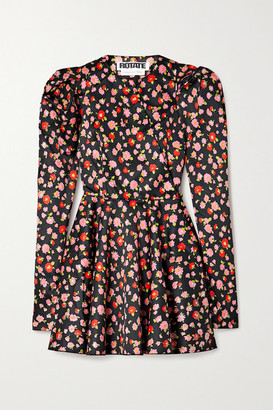 Rotate by Birger Christensen Pauline Floral-print Duchesse-satin Mini Dress - Black