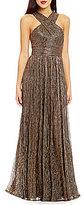 Calvin Klein Cross Neck Sleeveless Ruched Waist Gown