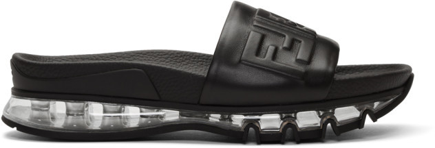 Fendi Black Logo Winner Slides