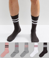 Asos Sports Style Socks In Pink Pastels 5 Pack