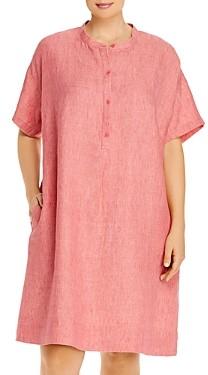 Eileen Fisher Plus Organic Linen Mandarin Collar Dress