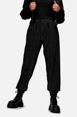 Topshop Womens Petite Black Diamante Joggers - Black