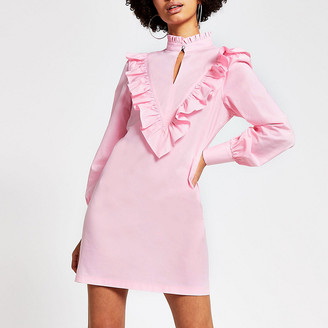 River Island Pink frill high neck long sleeve mini dress