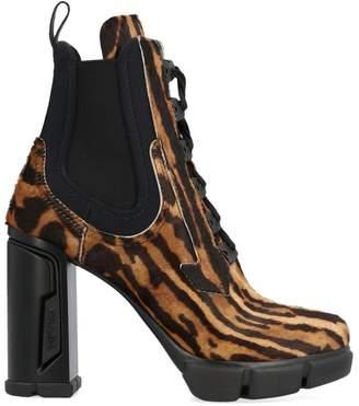 Prada Leopard Print Block Heel Ankle Boots