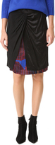 DKNY Mixed Media Skirt with Front Knot