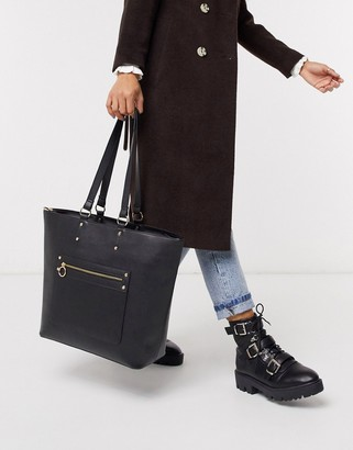 Truffle Collection Faux Leather Zip Front Tote Bag
