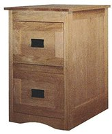 Amish Heirlooms Mission Solid Oak 2-Drawer File Cabinet with Framed Front Computer Desk