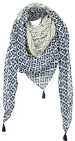 Fat Face Darcy Floral Square Scarf, Navy