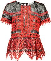 Jonathan Simkhai ruffled sheer blouse - women - Polyester/Spandex/Elastane - 0