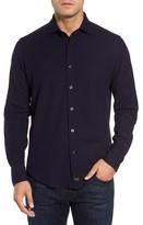 Thomas Dean Men's Regular Fit Herringbone Sport Shirt