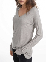 White + Warren Rib Jersey Asymmetrical V Neck