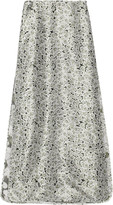 Tory Burch Santina layered floral-print silk-satin twill maxi skirt