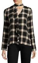 Derek Lam 10 Crosby Plaid Cascade Blouse