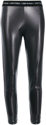 Marcelo Burlon County of Milan County Shiny Leggings Black White
