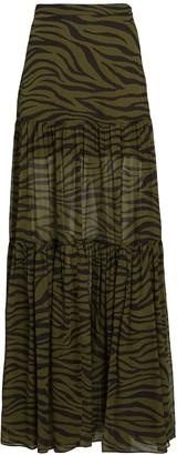 Veronica Beard Serence Zebra Printed Silk Maxi Skirt