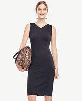 Ann Taylor Petite V-Neck Ponte Seamed Sheath Dress