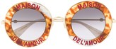 Gucci abstract pattern round frame sunglasses