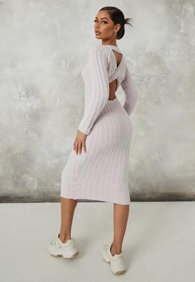 Missguided Petite Gray Popcorn Knit Twist Back Midaxi Dress