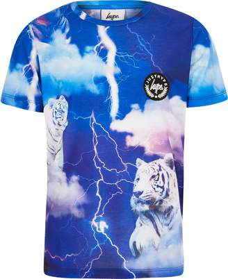 Hype River Island Boys Blue tiger print T-shirt
