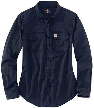 Carhartt Flame-Resistant Rugged Flex Twill Shirt (Dark Navy) Women's Clothing