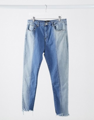 I SAW IT FIRST panelled jeans in blue