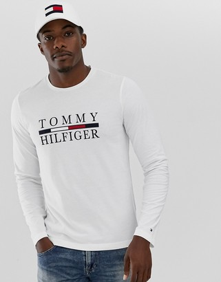Tommy Hilfiger large chest logo long sleeve t-shirt in white