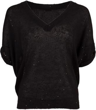 Brunello Cucinelli Deep V-Neck Paillette Sweater