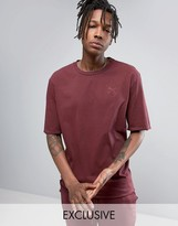 Puma Distressed Oversized T-Shirt In Burgundy Exclusive To ASOS 57530701