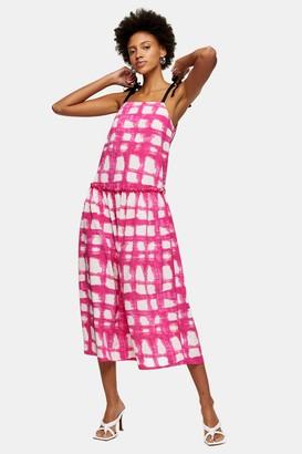 Topshop Pink Check Tie Tiered Drop Waist Midi Dress