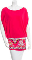 Emilio Pucci Printed Dolman Short Sleeve Top