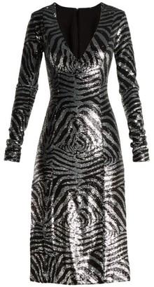 Halpern Zebra-pattern Sequined Dress - Womens - Blue Multi