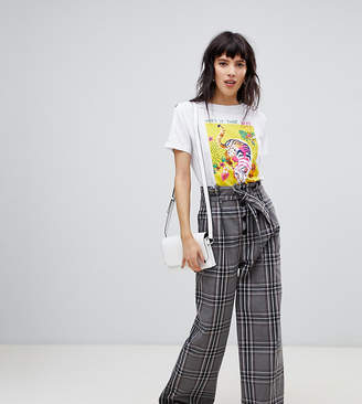 Stradivarius check wide pant with tie waist detail