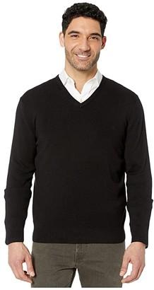 Calvin Klein Cotton Modal Long Sleeve V-Neck (Black) Men's Sweater