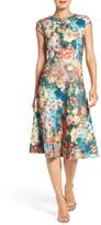 ECI Women's Floral Scuba Fit & Flare Midi Dress