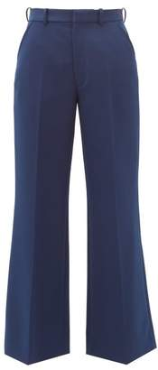 Maison Margiela Cropped Twill Tailored Trousers - Womens - Blue