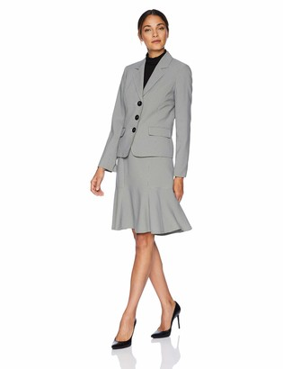 Le Suit LeSuit Women's 3 Button Notch Collar Flare Skirt Suit