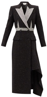 Alexander McQueen Double-breasted Draped-hem Wool-blend Coat - Black Multi