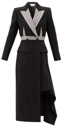 Alexander McQueen Double-breasted Draped-hem Wool-blend Coat - Black Multi