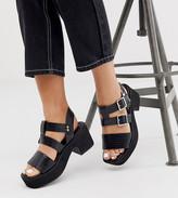 Asos Design DESIGN Wide Fit Helper chunky mid-heeled sandals in black croc