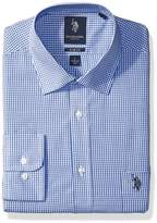U.S. Polo Assn. Men's Slim Fit Check Semi Spread Collar Dress Shirt