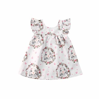 Frecoccialo Toddler Baby Girl Easter Theme Sleeveless Ruffle Layered Shoulder Skirts Bunny Anadem Heart Mini A-Line Skirt Summer Ruffle Party Princess Outfits Clothes (White 1-2 Years)