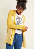 Mcs1129 Every time you slip into this tri-colored cardi, the edge you subtract from the chill directly adds to your style! Part of our ModCloth namesake label, this goldenrod, ivory, and light yellow layer boasts an open-front silhouette and a completely cotton c