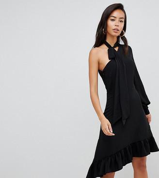 Asos TALL One Sleeve Scarf Neck Tie Midi Dress