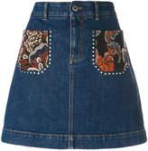 Stella McCartney flower embroidered mini skirt
