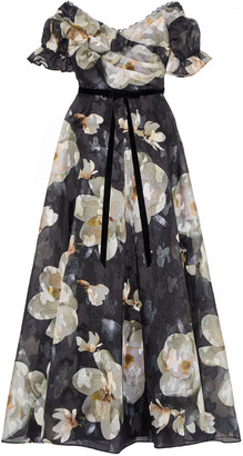 Marchesa Notte Off-the-shoulder Floral-print Fil Coupe Organza Gown