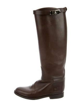Hermes Leather Jumping Boots Brown