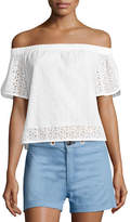 Rag & Bone Flavia Eyelet Lace Off-the-Shoulder Short-Sleeve Top